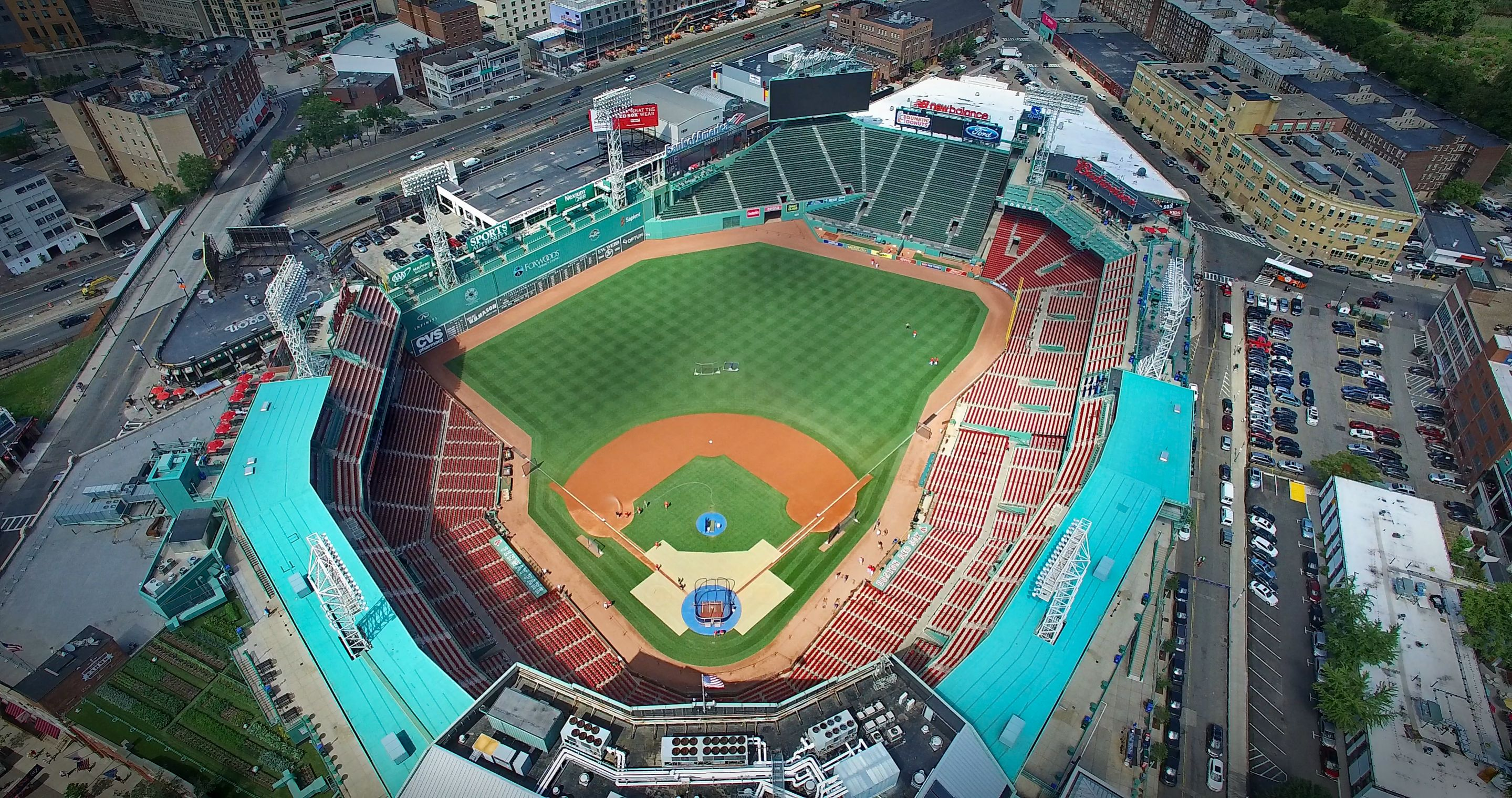 Aerial photo of Fenway Park. Fenway Park is a baseball park located in Boston, Massachusetts, at 4 Yawkey Way near Kenmore Square. Since 1912, it has been the home for the Boston Red Sox, the city's Major League Baseball (MLB) franchise. It is the oldest ballpark in MLB