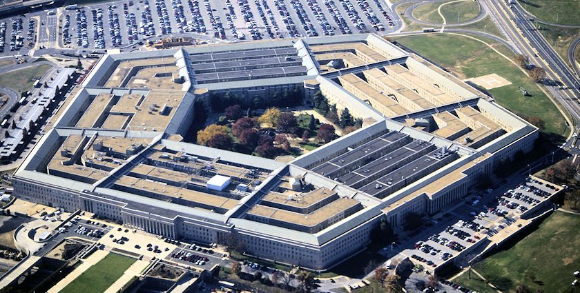 Aerial photo of the Pentagon. The Pentagon is the headquarters of the United States Department of Defense, located in Arlington County, Virginia, across the Potomac River from Washington, D.C. As a symbol of the U.S. military, The Pentagon is often used metonymically to refer to the U.S. Department of Defense.