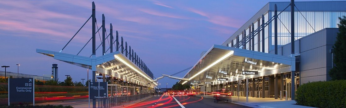 Outside photo at dusk of Raleigh-Durham Airport Terminal 1