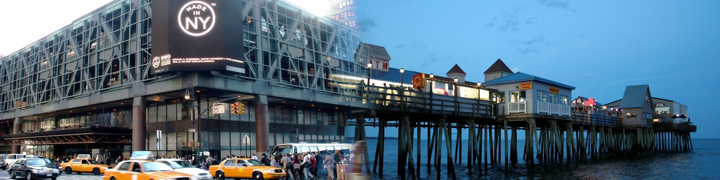 Ian's Trip Recaps blog header photo. A merged photo of New York City's Port Authority during the night and the pier at Old Orchard Beach in Maine at night.