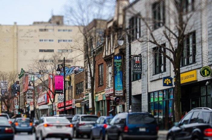 A photo of store fronts on Montreal's famous St. Laurent Boulevard