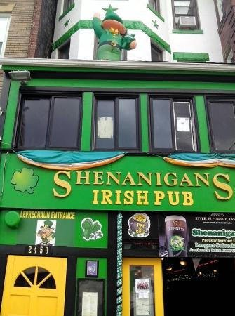 Photo of the outside front of Shenanigan's, an Irish pub located in the Adams Morgan Neighborhood of Washington, D.C.