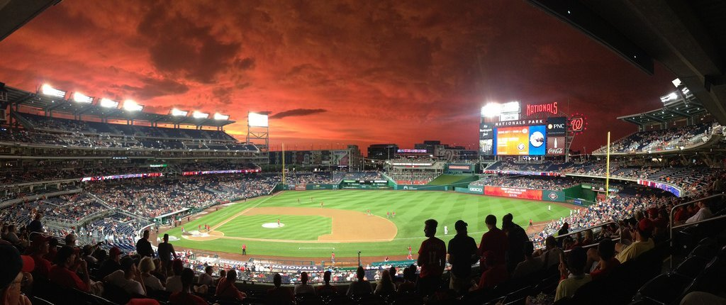 A photo of an epic colored sky over Washington Nationals Park; a view from the upper stands
